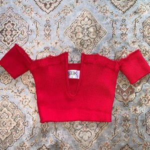 Red Seek the Label from LF ribbed crop top